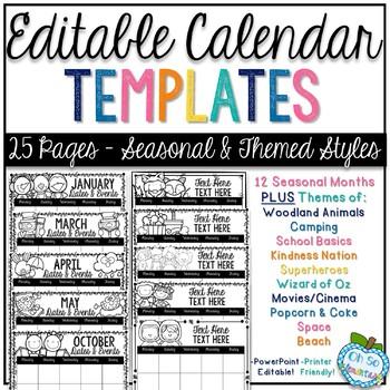 Editable Calendar Templates - Seasonal  Theme by Oh So Elementary
