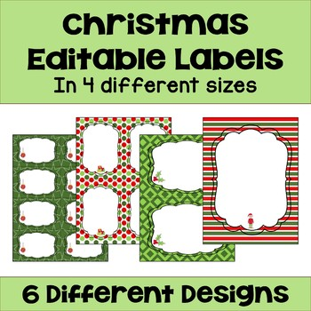 Christmas Editable Labels and Gift Tags by Sheila Cantonwine TpT