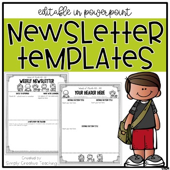 Editable Classroom Newsletter Templates by Simply Creative Teaching