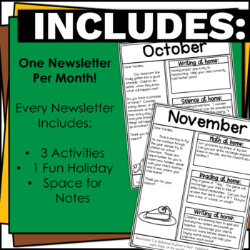No Prep Editable Newsletters for Elementary School Bundle Black and
