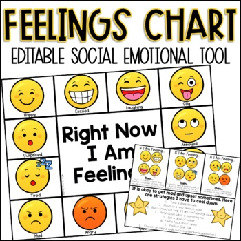 Editable Feelings Chart by The Mountain Teacher TpT - Feeling Chart