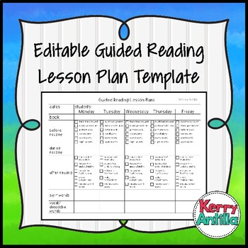Editable Guided Reading Template by Kerry Antilla TpT