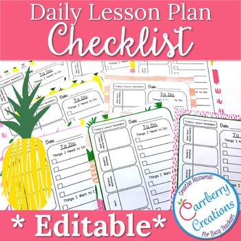 Editable Lesson Planner Daily Checklist with Pineapples by Carrberry
