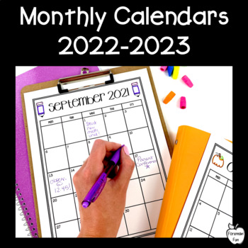 Editable Monthly Calendars 2018-2019 ~ Black  White by Foreman Fun