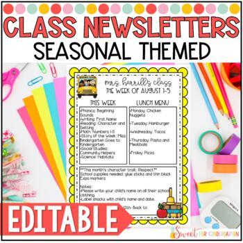 Editable Classroom Newsletter Templates Worksheets  Teaching