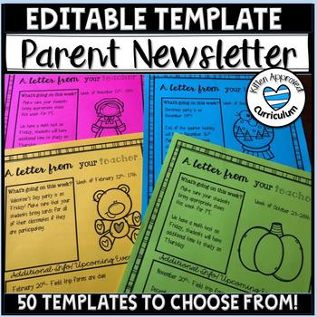 Weekly Newsletter Template Editable Teaching Resources Teachers