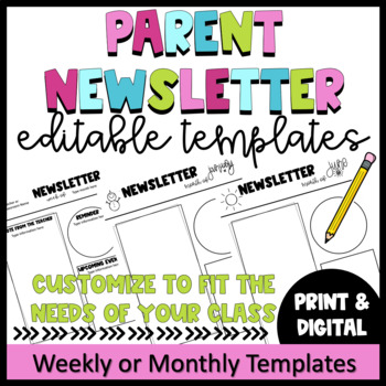 Editable Parent Newsletter Template- Weekly Classroom Letter TpT - weekly newsletter template