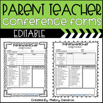 Editable Parent Teacher Conference Form By Mallory Cameron