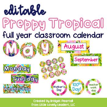Editable Preppy Tropical Lilly Full Year Calendar by Little Lovely
