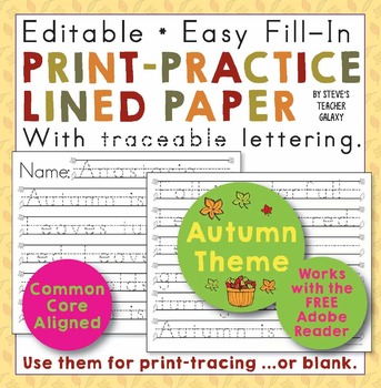 Fall Theme Editable Print-Practice Paper Free Download TpT
