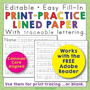 Editable Print-Practice Paper by The Illustrated Classroom TpT