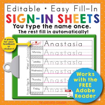 Preschool and Kindergarten Name Writing Practice Sign In Sheets TpT