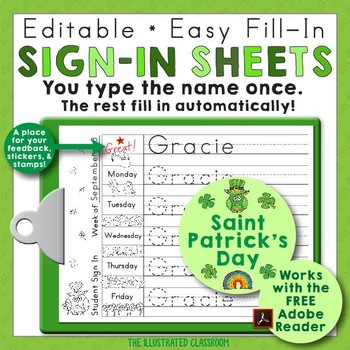 St Patricks Day Editable Print-Practice Weekly Sign In Sheets TpT