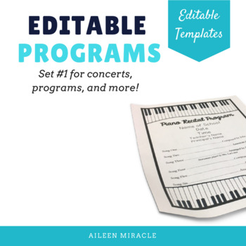 Editable Music Programs {Templates for programs, concerts, plays