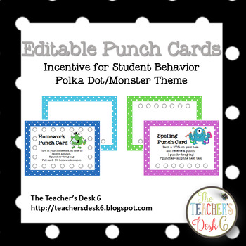 Editable Punch Cards Polka Dot Monster Theme by The Teacher\u0027s Desk 6