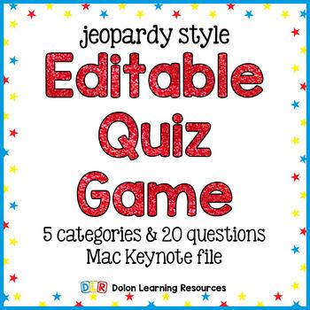 Jeopardy Quiz Game Template Editable Keynote Presentation TpT - jeopardy game template