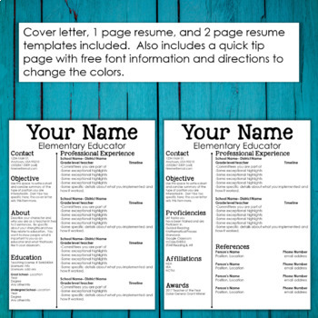 Editable Teacher Resume and Cover Letter Template- Sleek  Clean