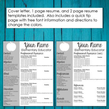 Editable Teacher Resume Template- Apple Accent by Tessa Maguire TpT