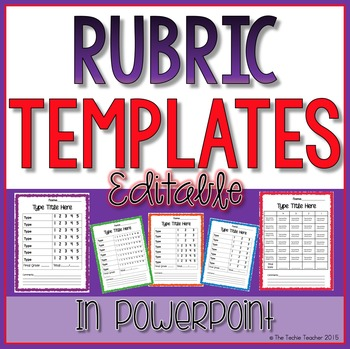 Editable Rubric Templates by The Techie Teacher TpT - rubric templates