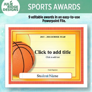 9 Different Editable Sports Awards by Julie Ridge Designs TpT