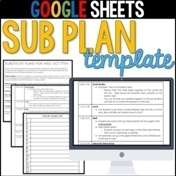 Editable Sub Plan Template Worksheets  Teaching Resources TpT