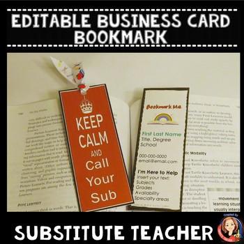 Substitute Business Card Teaching Resources Teachers Pay Teachers