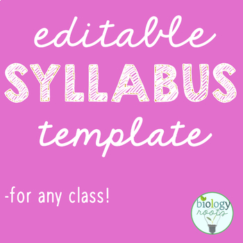 Editable Syllabus Template by Biology Roots Teachers Pay Teachers - syllabus template