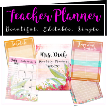 Editable Teacher Monthly Planner (Sunset Floral) by Happy Days in