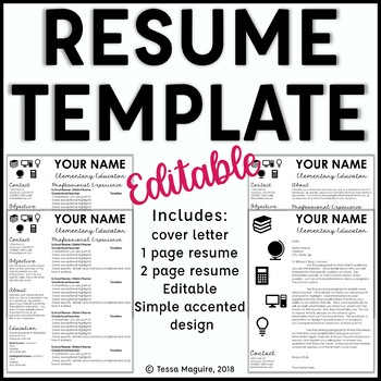 Editable Teacher Resume Template and Cover Letter Template- Accents