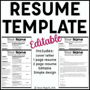 Editable Teacher Resume and Cover Letter Template- Scalloped by