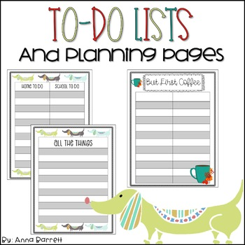 Editable Todo List and Planning Sheets by Anna Elizabeth TpT