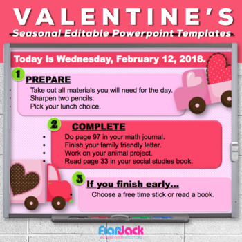 Editable VALENTINE\u0027S DAY Themed Morning Work PowerPoint Templates
