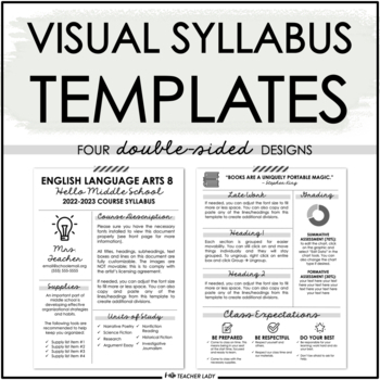 Editable Visual Syllabus Template for Back to School by Hello - syllabus template