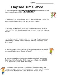Math Word Problems Elapsed Time Worksheets. Math. Best ...