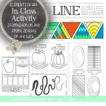 Line, Elements of Art Printable Worksheet Elementary, Middle, High