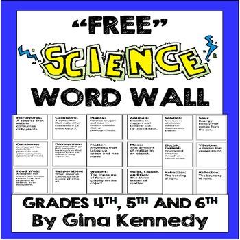 Free Science Word Walls Teachers Pay Teachers