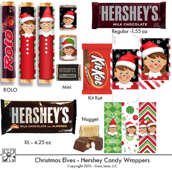 Elf Christmas Candy Bar Wrappers Printables by Gina Jane Clip Art