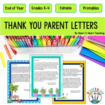 End of the Year Letter to Parents Say Goodbye with a Special Thank - thank you note to parents