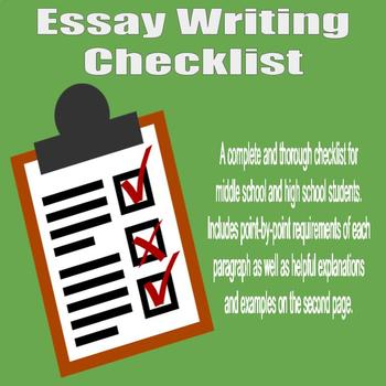 Essay Writing Checklist - High School and Middle School by A