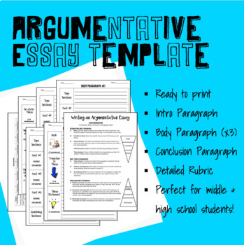 Essay Outline Template for Middle or High School - Including Rubric