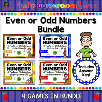 Even or Odd Numbers Seasons Powerpoint Game Bundle by Teacher Gameroom