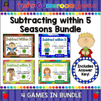 Subtracting within 5 Seasons Powerpoint Game Bundle by Teacher Gameroom