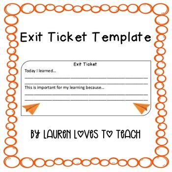 Exit Ticket Template by Lauren Loves to Teach Teachers Pay Teachers