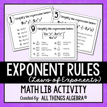Exponent Rules - Laws of Exponents - Math Lib by All Things Algebra