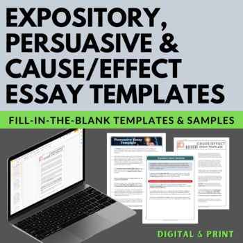 Expository, Persuasive, Cause/Effect Fill-in-the-Blank Essay Writing