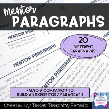 Expository Writing Mentor Paragraphs by Texas Teaching Fanatic TpT