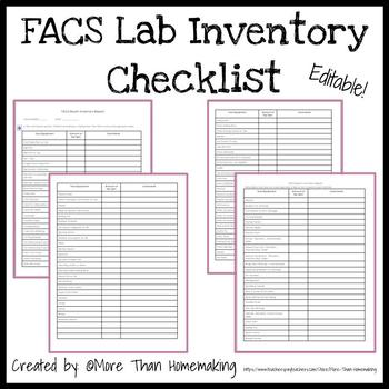 Family  Consumer Sciences Lab Inventory Checklist {EDITABLE} TpT