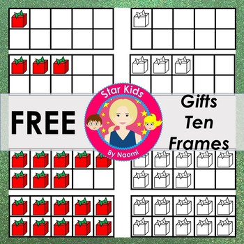Christmas Ten Frames Clipart - FREE {Commercial Use OK} by Star Kids