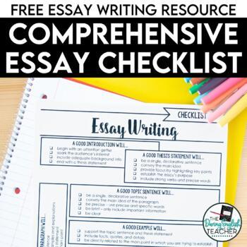FREE Comprehensive Essay Checklist by The Daring English Teacher