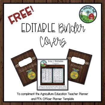 FREE  EDITABLE Binder Covers for Ag Education Teacher  FFA Officer
